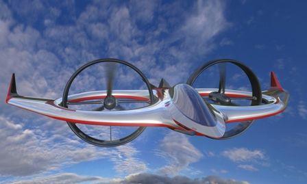Vue dartiste du Project Zero en mode avion. Les deux rotors sont disposés verticalement et tractent lappareil comme les hélices dun avion. Les ailes, mais aussi le fuselage et les carénages des rotors, assurent toute la portance lorsque la vitesse est élevée. Lallure futuriste est due à Stile Bertone, plus connu dans le monde de lautomobile.