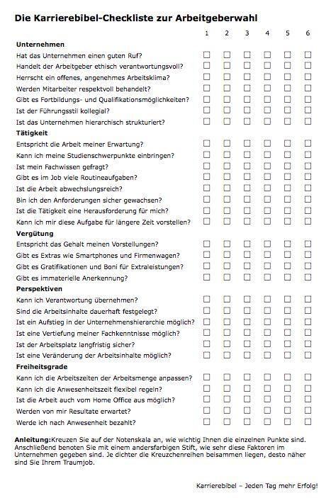 Arbeitgeberwahl-Checkliste