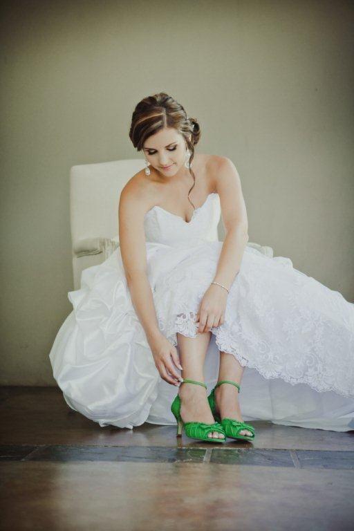 #RealBride Danike's apple green Kim Style #AnellaWeddingShoes
