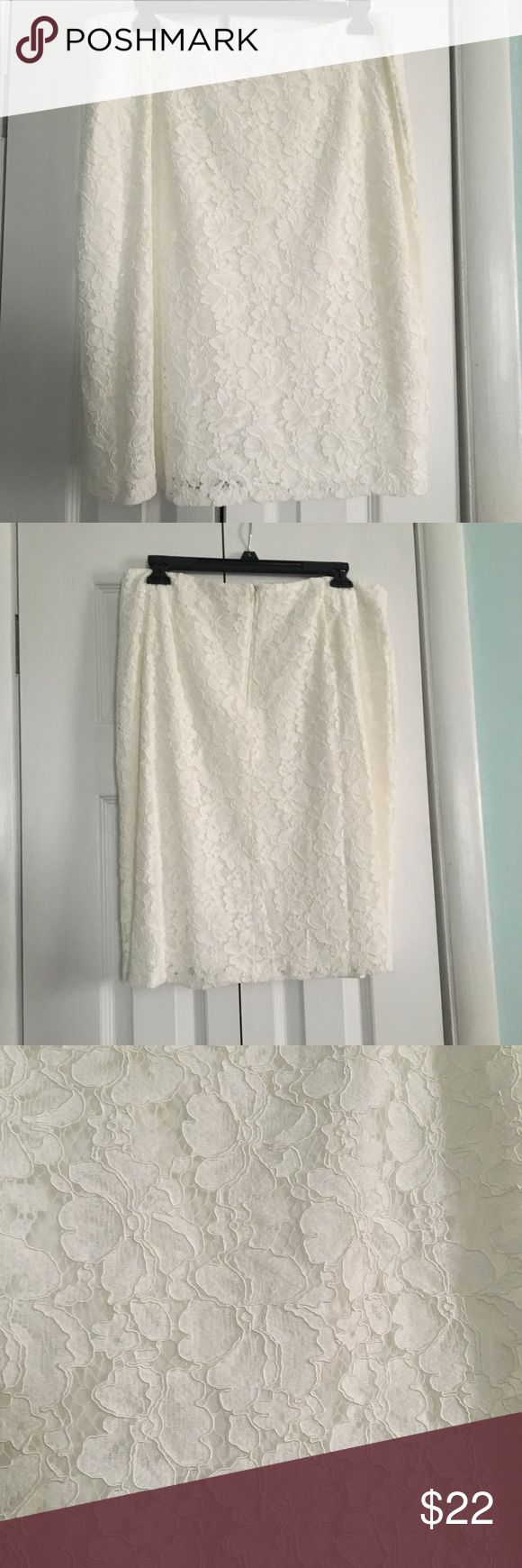 Beautiful Cream Lace Skirt Perfect for Easter 🐣 This beautiful lace skirt will give you all the Springtime feels. 😍 It's a pencil style skit and the lace is an overlay to the fabric underneath. Adiva Skirts Pencil