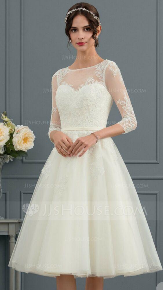 7afbf22a8 Princess Scoop Neckline Knee Length Tulle Ivory Wedding Dress! Beautiful!!  NWT  fashion  clothing  shoes  accessories  weddingformaloccasion   weddingdresses ...