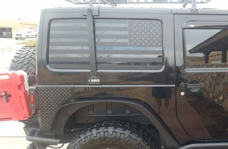American Flag Rear Window Decals For 2007-2017 Jeep Wrangler JKU Matte Black 2PK #lilcowboy