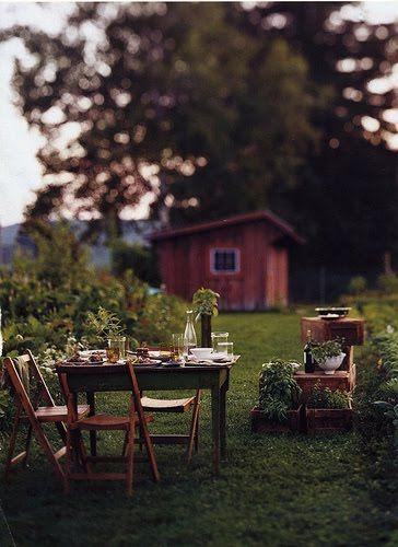 dit als achtertuin, aan een zweeds meer, dichtbij het bos, met vier katten en een hond en een sauna.