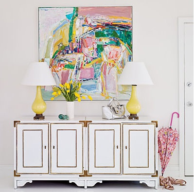 Abstract over console...like the white lacquered console w brass accents too ..