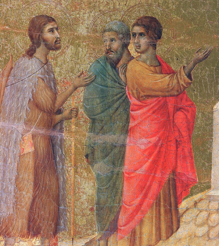 """1308-11 - """"Christ on the road to Emmaus"""" (Fragment) by Duccio di Buoninsegna (Siena, 1255-60-1318-19), wood, tempera"""