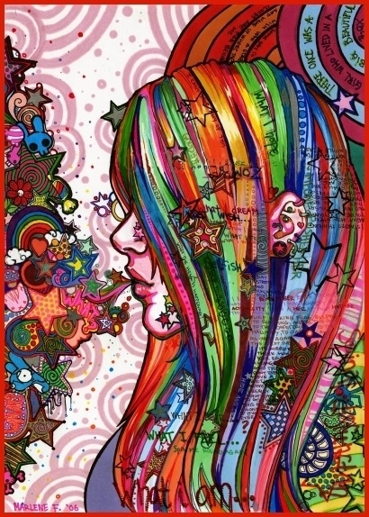 .Rainbows Hair, Inspiration, Artworks, Colors, The Rolls Stones, Rainbows Art, Hippieart, Hippie Art, Drawing
