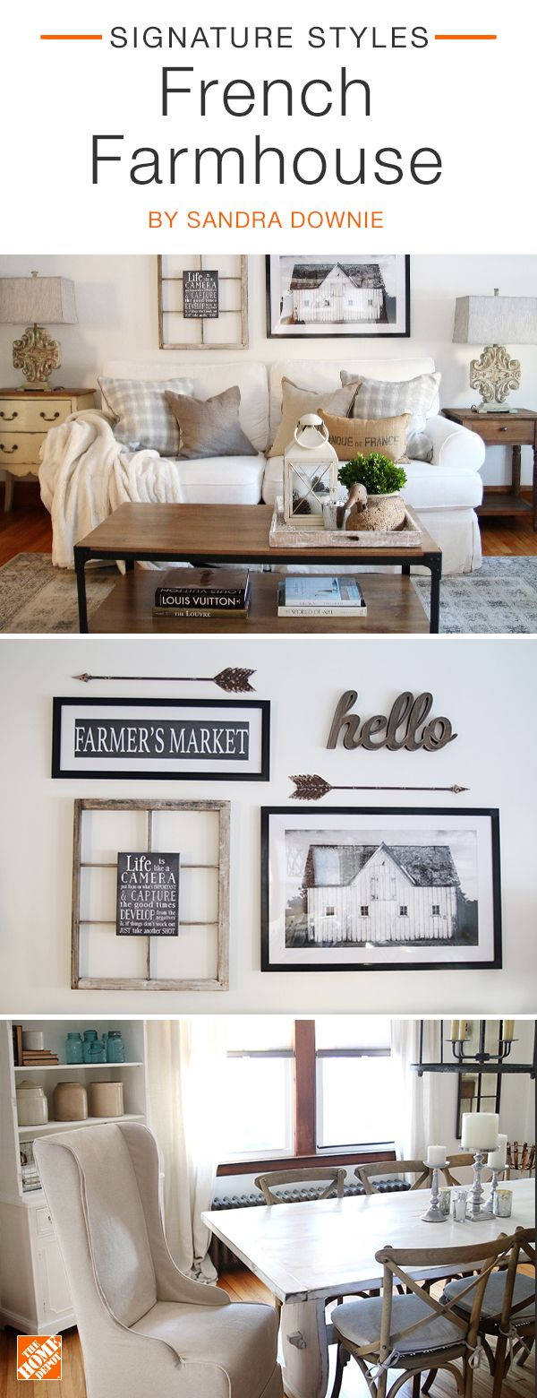 Create a French farmhouse  feel in your home with  a few  simple and affordable updates. A mixed media gallery art wall  combines black and white  photography with  bronzed  metal elements  to create farmhouse  charm. Neutral  decor also helps the  space to stay light,  bright,  and airy. We partnered  with blogger Sandra Downie to complete this look. Click to shop this stylish  collection.