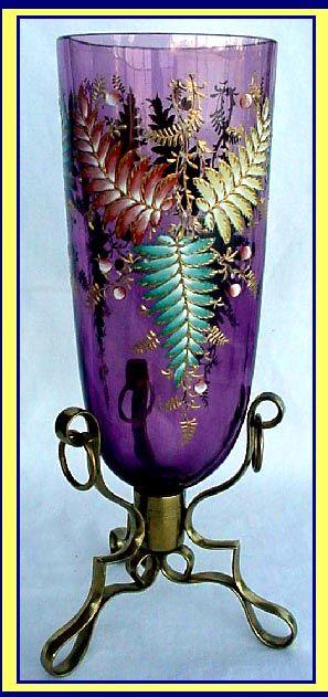 ANTIQUE MOSER AMETHYST GLASS VASE ENAMEL DECOR For Sale