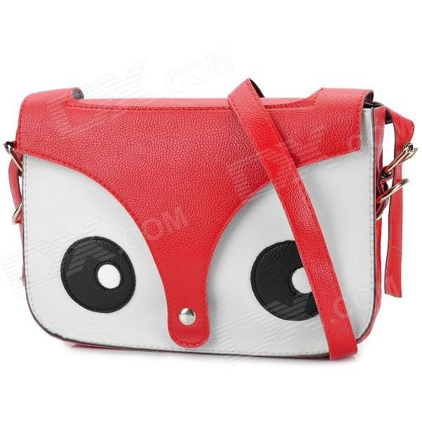 Fashion Fox Head Pattern Lady's PU Shoulder Bag - Black + White + Red