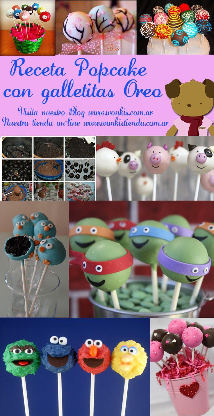 Popcakes con galletitas Oreo - Receta - Wonkis Diseños http://www.wonkis.com.ar/2014/07/popcakes-con-galletitas-oreo-receta/