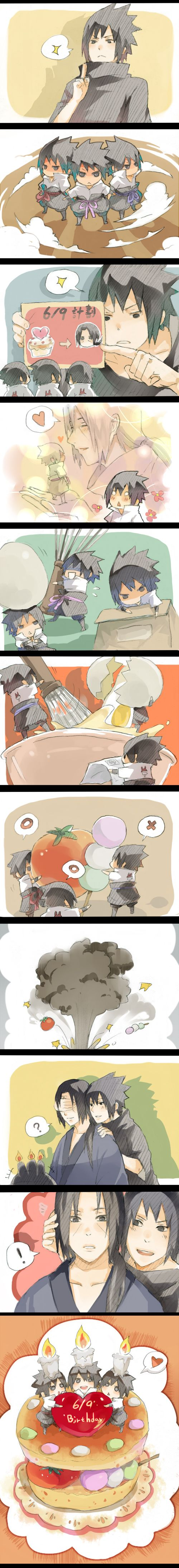 I want chibi Sasukes to make me stuff for my birthday in 2 days ;-;