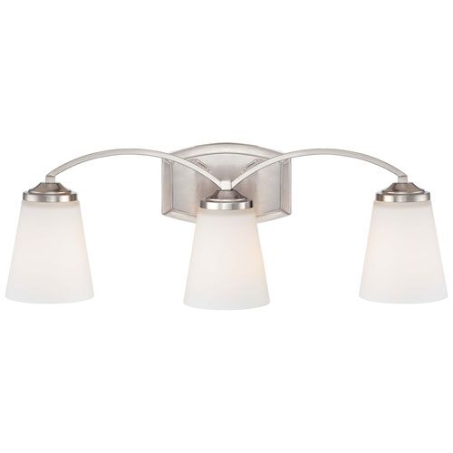 Overland Park Brushed Nickel Three Light Bath Fixture Minka 3 Light Bath Lighting Wall Lig