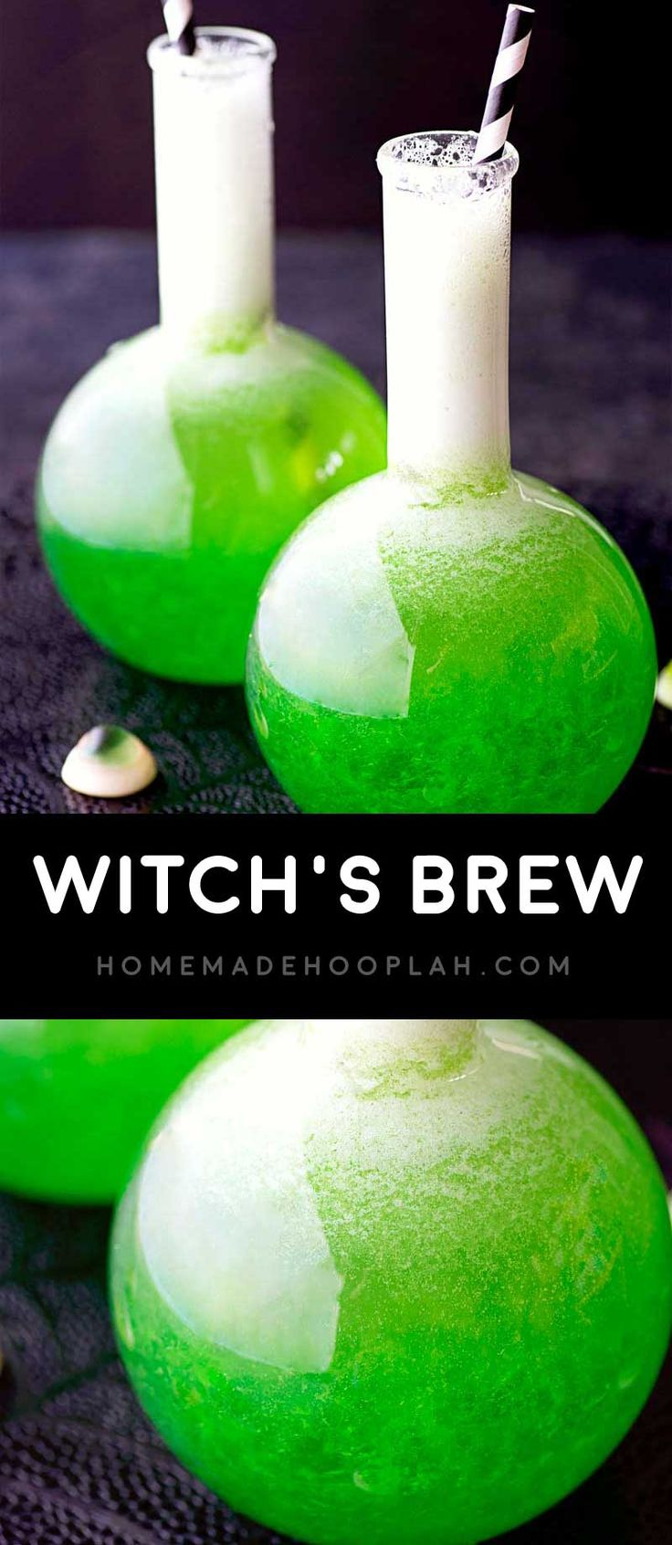 Witch's Brew! Classic lime jello mixed with fruit juice, vodka, and a dash of sprite. A perfect Halloween drink for any type of creepy party! | HomemadeHooplah.com via @homemadehooplah