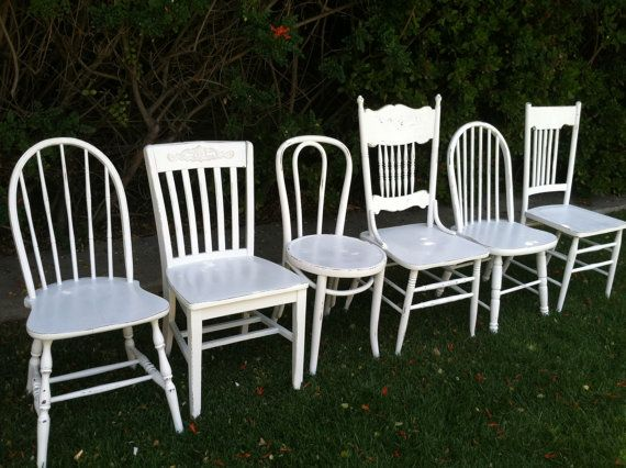Custom Set of Chairs, Mix and Match, Set of 4 Dining Chairs, White, Shabby Chic,  White Spindle Chairs, Kitchen Chair (Los Angeles)
