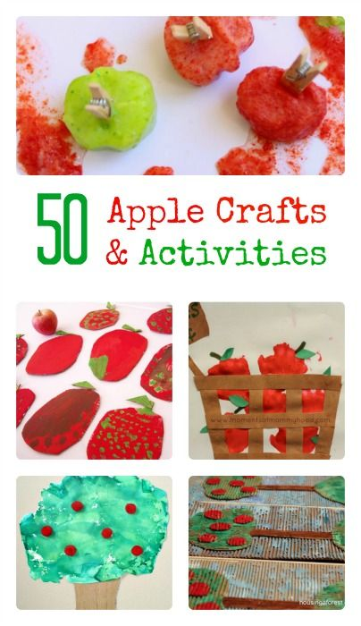 A big collection of apple crafts, art projects and other activities for kids of all ages. #applecraftsforkids