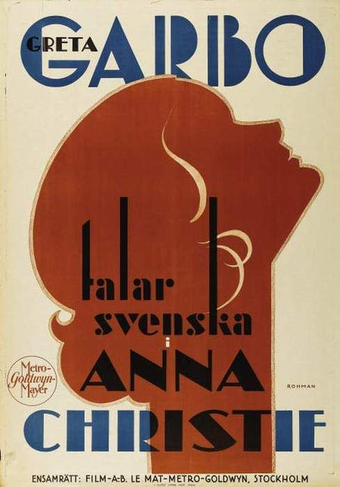 Art Deco Anna Christie film poster (starring Greta Garbo) - 1930.
