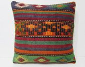 24x24 craft kilim pillow orange throw pillow green decorative pillow rustic pillow case country pillow cover western throw pillow sham 24437