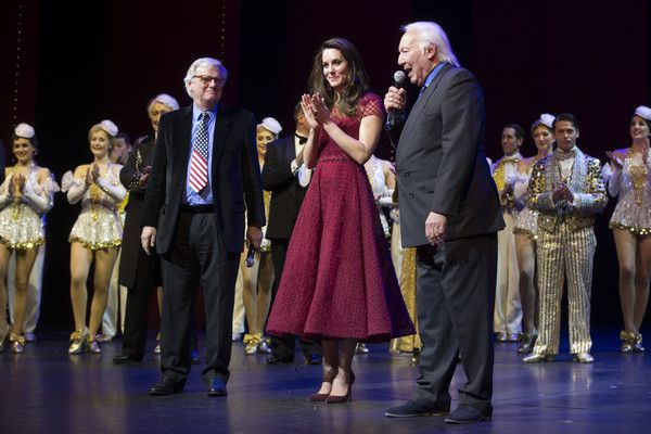 """Kate Middleton Photos Photos - Catherine, Duchess of Cambridge, Lord Michael grade and Michael linnit take part in a presentation during the Opening Night Royal Gala performance of """"42nd Street"""" in aid of the East Anglia Children's Hospice at the Theatre Royal Drury Lane on April 4, 2017 in London, England. - The Duchess Of Cambridge Attends The Opening Night Of """"42nd Street"""" In Aid Of The East Anglia Children's Hospice"""