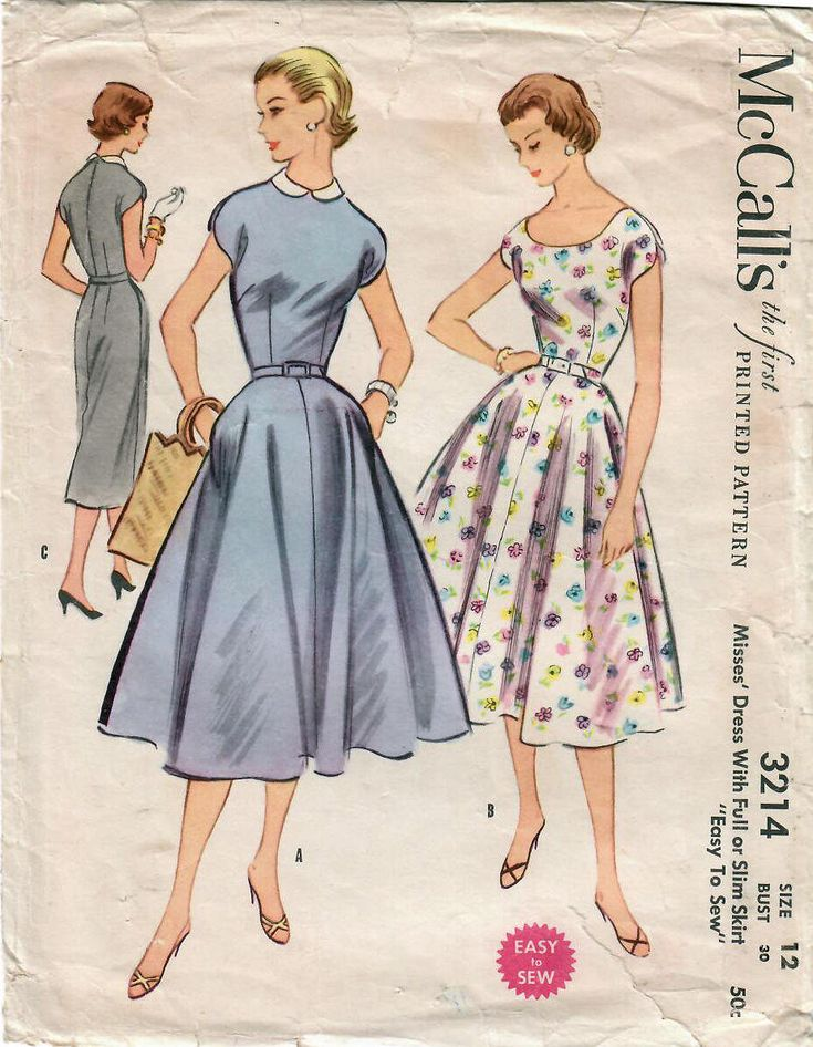A pretty dress for summer! In my #etsy shop: 1950s McCall's 3214 Vintage Sewing Pattenr Misses One Piece Dress, Flared Skirt Dress, Party Dress, Slim Dress, Sheath Size 12 Bust 30 http://etsy.me/2HNuQHl #supplies #sewing #missesdresspattern #50smissesdress #50sdress
