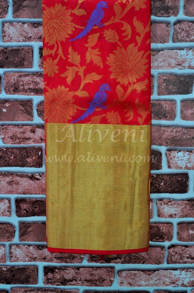 Red Kuppadam pure pattu saree with floral/parrots pattern all over
