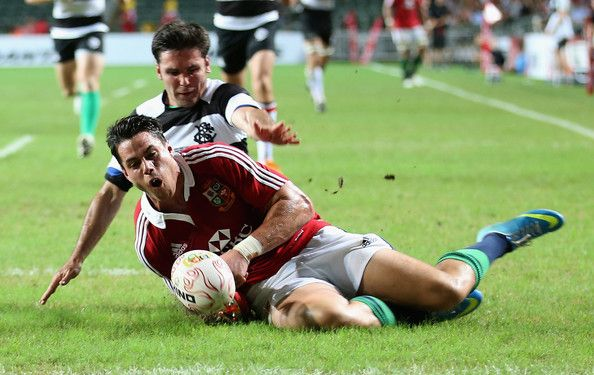 Sean Maitland of the Lions is just short of the try line during the match between the British & Irish Lions and the Barbarians at Hong Kong Stadium on June 1, 2013,  Hong Kong.