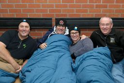 Toronto Police Chief Bill Blair, MLSE CEO Tim Leiweke, Venture Communications CEO & CBC Dragon Arlene Dickinson and Covenant House Toronto Executive Director Bruce Rivers getting ready to sleep out for homeless youth at Executive Sleep Out 2013.