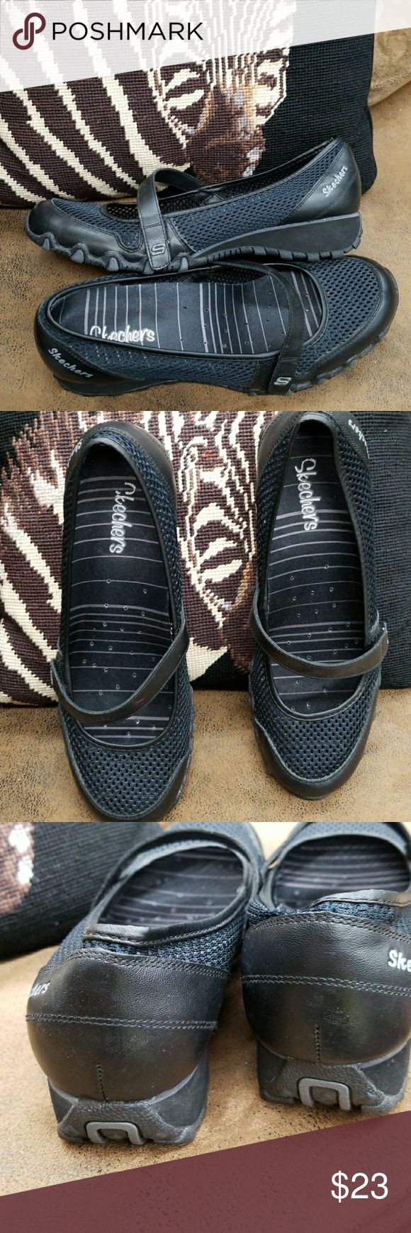 Skechers black Mary Jane's 9.5 Up for sale is a super cute pair of shoes that were worn very little.  I cannot find a size but I wear a size and 9 and they are a little bit too big for me. Cleaned and polished Skechers Shoes