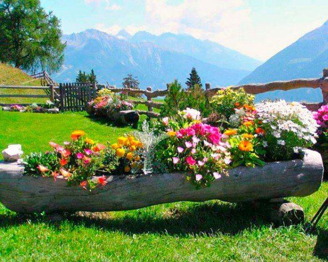 Imagenes con ideas de decoracion del jardin con troncos