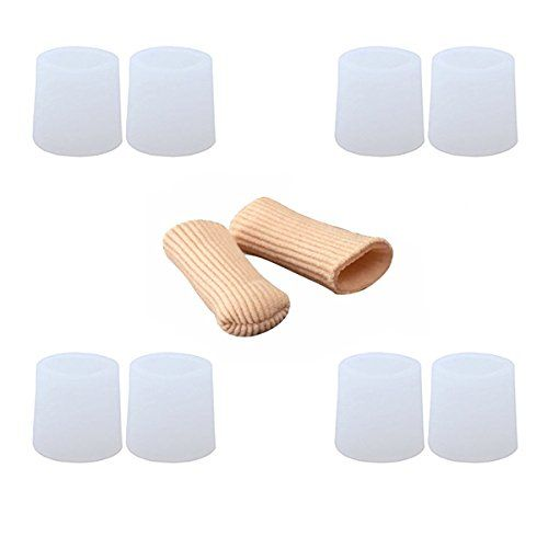 ROSENICE Gel Toe Protector 8pcs Silicone Toe Sleeve + 2pcs 15cm Cuttable Fiber Toe Cap  Material: Silicone. Size: Approx. 15 * 2 * 1cm/ 6 * 0.8 * 0.4 inch (L*W*H).  Reduce the friction between toes during walking and running.  Soft for comfortable wearing. Can effectively alleviate pain and prevent malformation of toes.  For Bunions, Stubbed Toe, Crossing Toes, Corns and Calluses recovery.  Elastic fiber outter layer with great flexibility. Breathable without stickness.