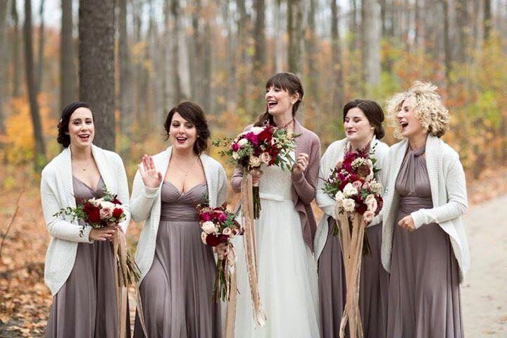 Bride and bridesmaids in the woods. Autumn wedding, mauve dresses, red wine bouquets. Berkeley Church Wedding, Toronto Wedding Photographer. #sweetheartempire #whistlebearwedding #fromthepottingshed