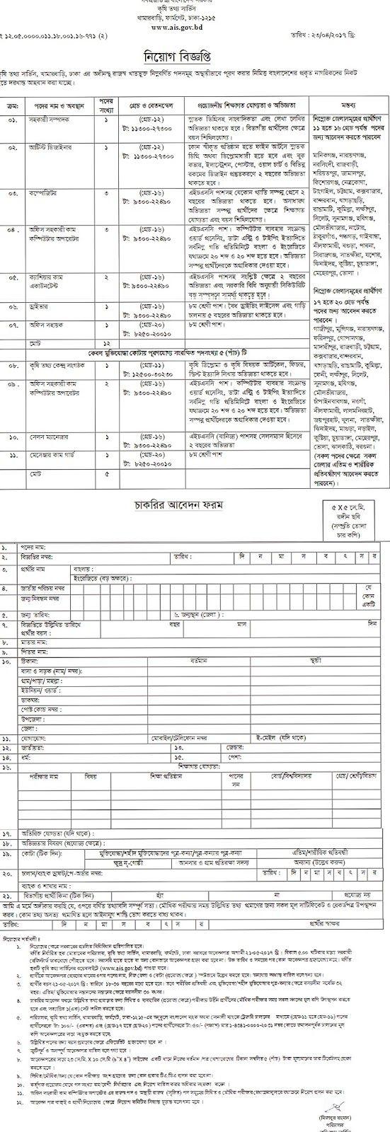 Job Circular For Bangladesh: Agriculture Information Service Job Circular