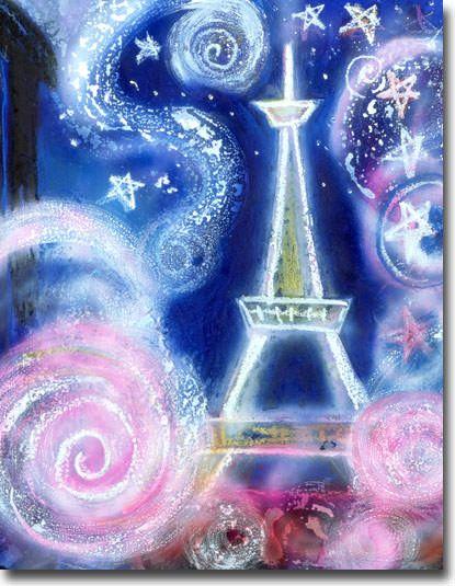新月紫紺大作のおしゃれな絵 タイトル「パリ祭」