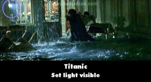 Error en la película del Titanic donde se ven las luces de la filmación