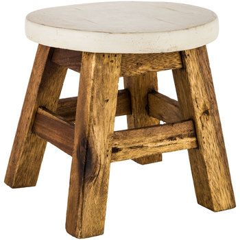 Antique White & Natural Wood Foot Stool