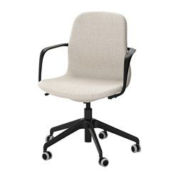 IKEA - LÅNGFJÄLL, Chaise pivotante, Gunnared bleu, blanc, , Un siège de bureau ergonomique aux lignes courbes, avec des surpiqûres soignées et un mécanisme simple d'utilisation dissimulé sous l'assise pour conserver toute l'esthétique.Vous pouvez vous adosser de manière optimale du fait que la tension d'inclinaison facilement réglable avec une clé Allen vous permet d'adapter la résistance à vos mouvements et à votre poids.Le soutien lombaire intégr...