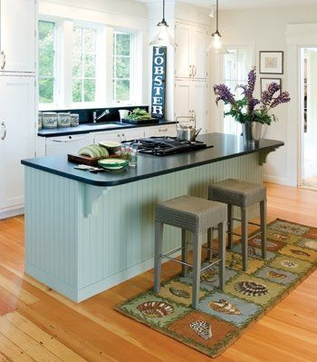 The Great Idea Of A Rug Runner Under The Kitchen Barstools