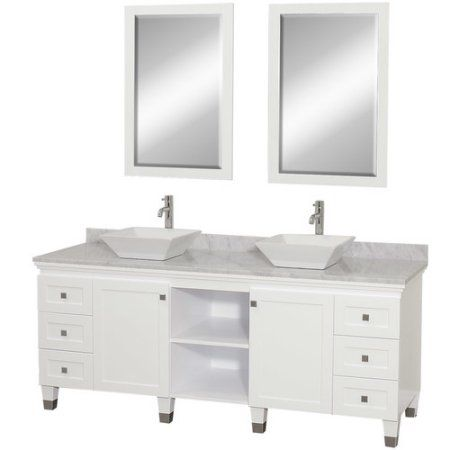 Photo Album Website Wyndham Collection Premiere inch Double Bathroom Vanity in White White Carrera Marble Countertop