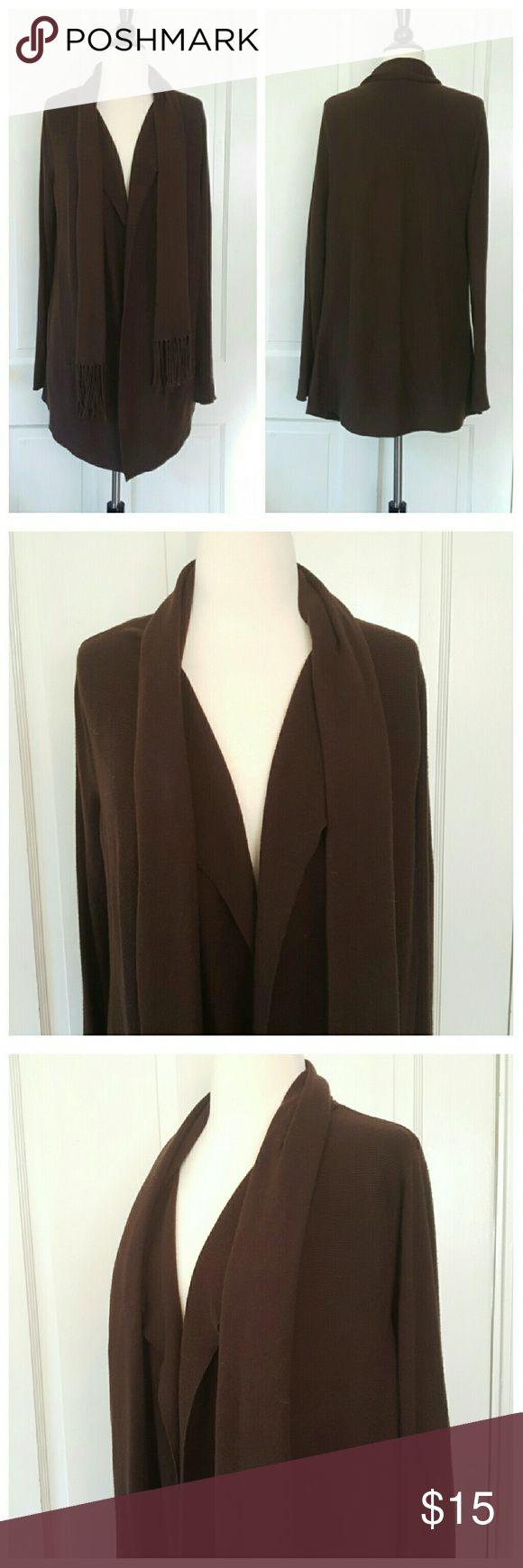 Adrianne Vittadini Brown Cardigan, attached scarf Adrienne Vittadini Brown Cardigan with attached scarf Adrienne Vittadini Sweaters Cardigans
