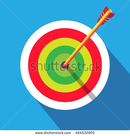 Archery Target flat. Rio Archery 2016 Vector illustration. Target icon. Archer banner. Archery poster. Brazil Sport. Summer Games label. Target and arrow flat archery sign. Winner Symbol. Olympian win