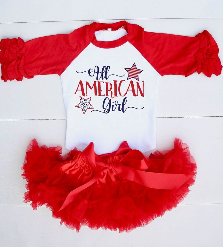 """This 4th of July Outfit is perfect to show off her pride for the Red, White, & Blue! This red & white raglan with 3/4 icing sleeves with """"All American Girl"""" is too cute! Your little one will get oohs"""