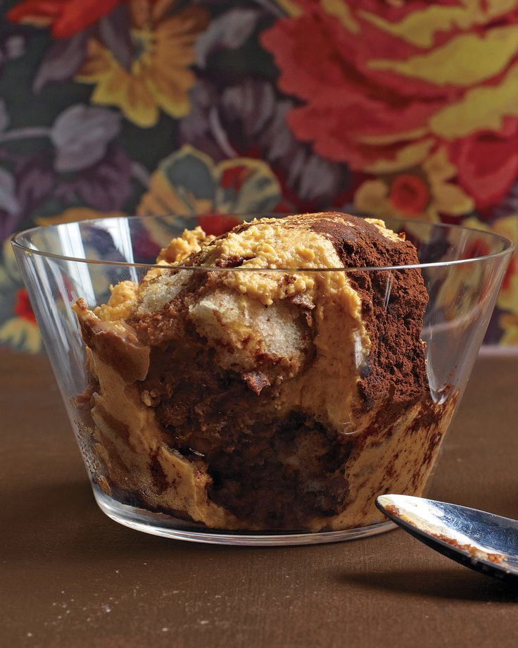 Pumpkin-Chocolate Tiramisu | Martha Stewart Living - This holiday, revamp the classic Italian standout by adding pumpkin puree to the mix.