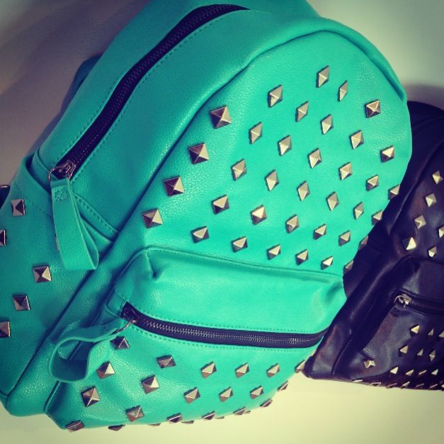 blue studded backpack! cuute