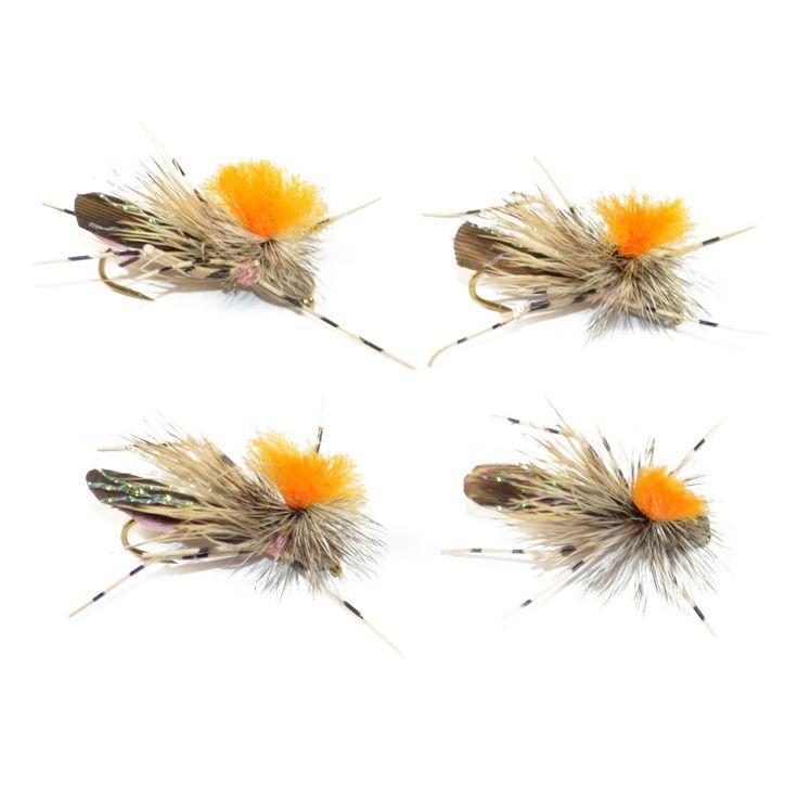 Foam Body Terrestrials - Tan Feth Hi-Visibility Foam Grasshopper Bass Trout Fly Fishing Hoppers - 4 Flies