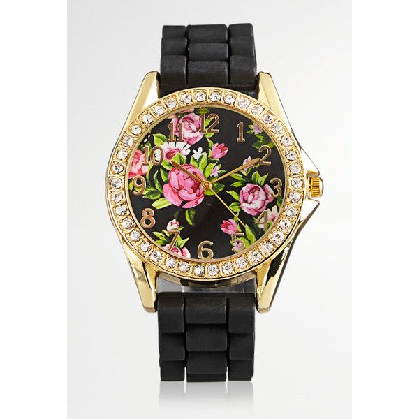 Avenue Floral Face Rubber Strap Watch ($20) ❤ liked on Polyvore featuring jewelry, watches, black, plus size, quartz movement watches, stainless steel jewellery, floral watches, avenue jewelry and stainless steel wrist watch