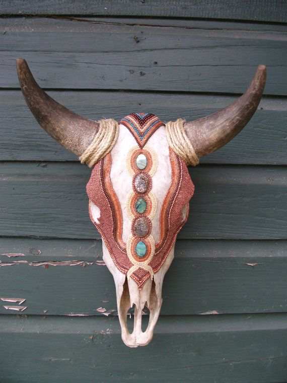 Hand Beaded Cow Skull Copper Royale Wall Art via Etsy