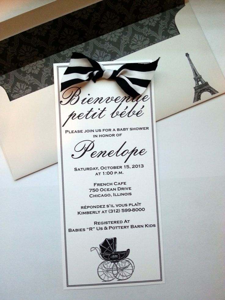 Black and White Classic French Baby Shower by stampandseal on Etsy, $3.75