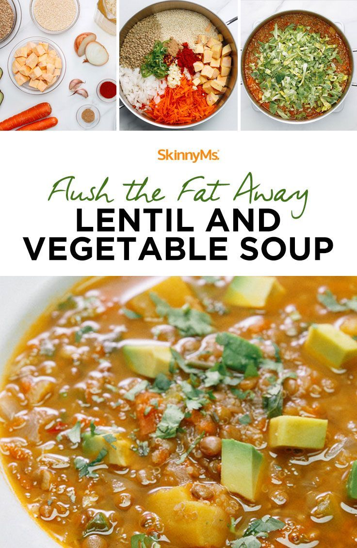 """""""Flush the Fat Away"""" Lentil and Vegetable Soup Yields: 10 servings 