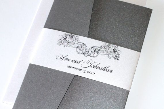 Custom Vintage Wedding Invitation featuring an ornate vintage design motif in Pewter and White metallic.  The Pocketfold is shown in Dark Pewter Metallic Grey. The ornate vintage design is printed on White Metallic cardstock, No backing on the Inside Invitation and Reply card. A Belly Band embellishes the front of the Invitation as well as keeping it all together. Other metallic colors are available to coordinate with your event.  The Ava Sample Set Includes:  1- 5 X 7 Pocketfold Invitation…