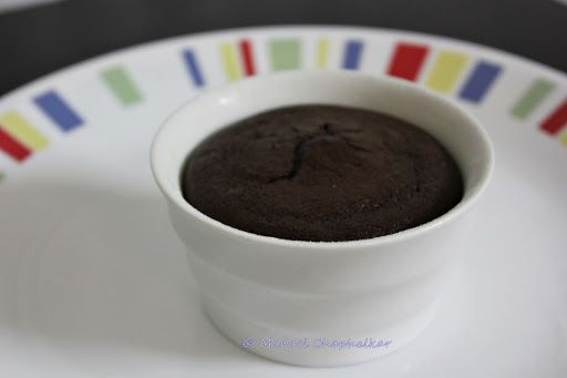 Eggless Molten Choco Lava Cake baked in Ramekin