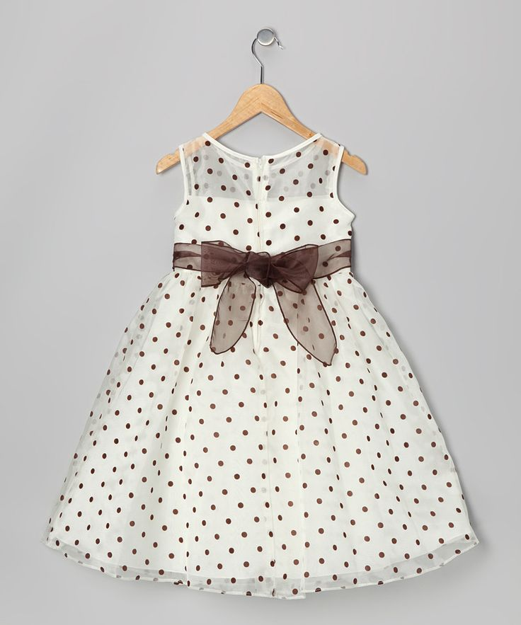 Ivory & Brown Polka Dot Dress//